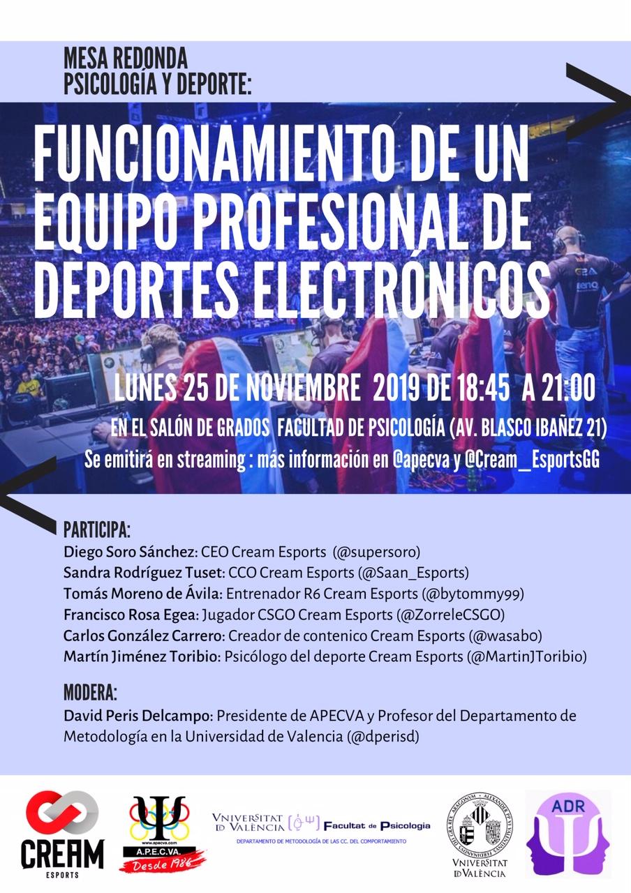 Psicología y Deportes Electrónicos: mesa redonda en Valencia 25 de noviembre 2019